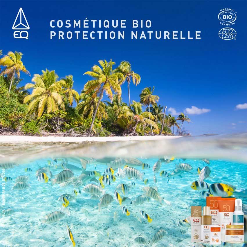 Les Protections solaires EQ Bio protègent votre peau et votre environnement marin.